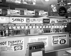 Lunch counter at Snyder's Drug, 2630 East Lake Street, Minneapolis, Minnesota, 15 February 1957.