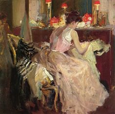 Richard Edward Miller (American painter, 1875-1943)   'Sewing By Lamplight' 1904