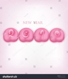 New year 2019 banner with pig pink backsides with tails in shape of numbers. Vector illustration