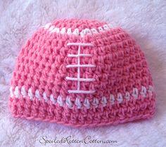 Girls Pink Crochet Football Beanie Hat 28020c361ce6