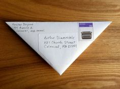 Triangle letter how-to (mail for free) :: improvisedlife.com // This didn't really work like it was supposed to. =( I think it would have several years ago before the postage system changed... but now my friend had to pay 20 cents to receive it.