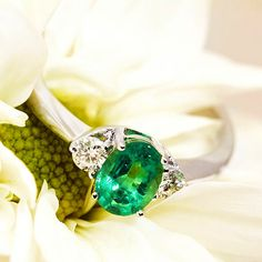 The perfect emerald & diamons, white gold engagement ring by Coriolan