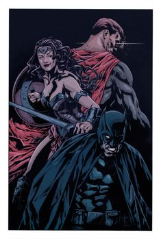 Trinity - Rodrigo Lorenzo Dc Trinity, Traditional Ink, The World's Greatest, Mythology, Science Fiction, Dc Comics, Batman, Darth Vader, Wonder Woman