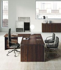 EOS | Office desk By Las Mobili Man Office, Office Desk, Kitchen Office, Eos, Executive Room, Luxury Office, Corner Desk, Shelves, Table