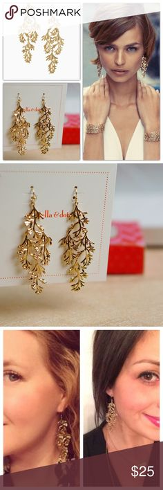 """Stella & Dot Grace Chandeliers Earrings Gold Tone These elegant earrings are hand cast from delicate leaves that Blythe found while in Northern California. The natural fern design will add the perfect touch of romance to your look - can be dressed up or down.   I like the length, movement, and delicate look they'll add to any outfit.  * 3"""" drop length.  * Sterling silver ear wire.  * Medium weight. * Shiny gold plating. Stella & Dot Jewelry Earrings"""