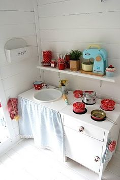 play area inspiration- play kitchen with toy mixer!