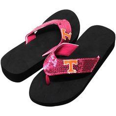 Tennessee Volunteers Ladies Sequin Wedge Flip Flops - Pink