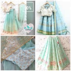 Pastel lehengas in mints and greens are perfect for the summer wedding. #Frugal2Fab