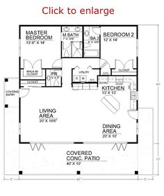 Spacious Open Floor Plan House Plans with the Cozy Interior : Small House Design. - Enne's Decor - Splendid Spacious Open Floor Plan House Plans with the Cozy Interior : Small House Design Open Floo - 2 Bedroom Floor Plans, Open Floor House Plans, Kitchen Floor Plans, Tiny House Plans, Small House Plans Under 1000 Sq Ft, 2 Bedroom Apartment Floor Plan, Square Floor Plans, Two Bedroom Tiny House, Square House Plans