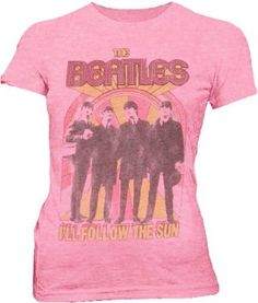 Amazon.com: Junk Food The Beatles I'll Follow the Sun Light Pink Juniors T-shirt Tee: Clothing
