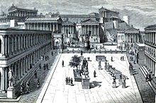 The Roman Forum at the time of Julius Caesar. The place was a grandiose district of temples, basilicas and vibrant public spaces.