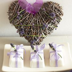 Lavender soap bars. By the way, I would love to know how to make this heart :)