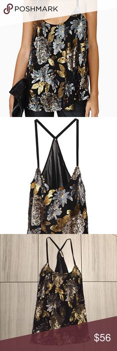 BB Dakota sequin racerback tank Super cute and very gently used. Perfect condition. Grey and gold sequins over black. No smoking or pets in home. BB Dakota Tops Tank Tops