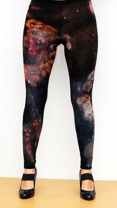 Galaxy nebula cosmic leggings hand painted by NetieArt on Etsy, $32.00