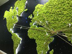 My work ... World Map Moss wall @ Etihad Airline - HQ office , UAE . 5.4 m X 2.5 m H .