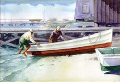 Southport's Art Newton was as fine a watercolor painter as the more widely known Edward Hopper Edward Hopper, Southport, North Carolina, Boat, Watercolor, Painting, Pen And Wash, Dinghy, Watercolor Painting