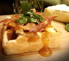Bacon, Brie and Basil Gourmet Waffles