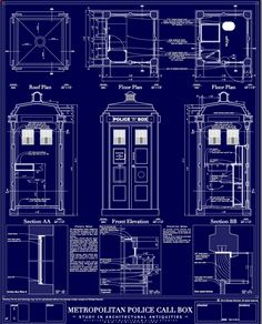 TARDIS exterior schematics. Cuz you just never know when you might need this.