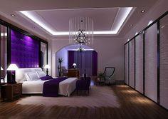 Purple bedroom with chandelier