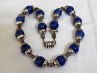 Art Deco Lapiz Glass Bead Necklace French