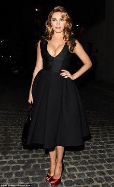 like this black dress, pretty neckline and full skirt - Kelly Brook