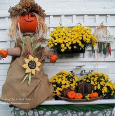 fall is in the air, flowers, gardening, seasonal holiday d cor, wreaths, Pumpkin Lady on the potting sink