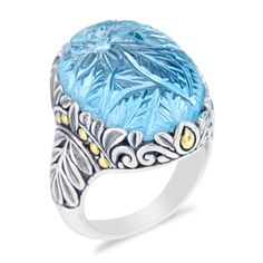 Carved Sky Blue Hydra Quartz Sterling Silver Ring with 18K Gold Accent | Cirque Jewels