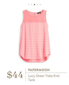 Stitch Fix: Papermoon Lucy Sheer Yoke Knit Tank $44 not sure about coral but open to other colors