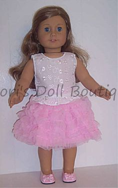 """White Eyelet Top & Pink Can Can Skirt made for 18"""" American Girl Doll Clothes #DorisDollBoutique #DollClothes"""