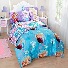 Perfect for fans of the movie Frozen, this soft and comfortable Frozen Comforter Set features Anna and Elsa accented with bright, fun colors and patterns that will inspire young imaginations.