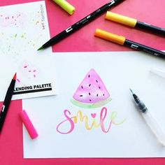 Smile Its watermelon day And tombowusa brush pens make awesome watercolors nationalwatermelonday watermelonday tombowusa handlettering