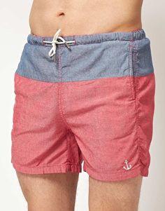 Image 1 ofRiver Island Chambray Swim Shorts
