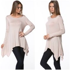 1 small left❗️Basic tunics Please do not purchase this listing. Comment with size and I will create a listing for you. Asymmetrical scoop neck tunics in a sandy color. Price is firm unless bundled. Tops Tunics