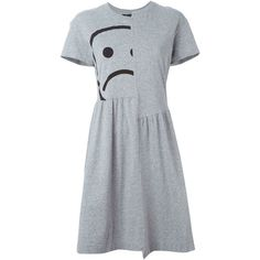 Marc By Marc Jacobs Sad Face Print Dress (3,315 MXN) ❤ liked on Polyvore featuring dresses, grey, grey cotton dress, mixed print dress, cotton dress, pattern dress and grey dress
