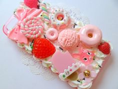 Kawaii Decoden Whipped Cream Sprinkles Pink Candy Food Strawberry Bow Sweet iPhone 5 Cell Phone Case. £17.50, via Etsy.