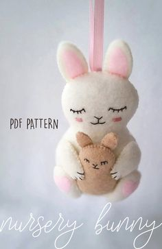 Easter Bunny Felt Softie Ornament PDF Pattern, Felt Sewing Pattern for Baby Toy Mother and Baby Rabbits Nursery Decor Baby Shower Gift Felt Crafts Patterns, Felt Crafts Diy, Felt Diy, Easter Crafts, Nursery Patterns, Baby Patterns, Bunny Nursery, Nursery Decor, Girl Nursery