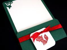 Christmas Card with stamped on fox and corner punch