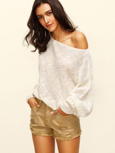 Online shopping for Beige Boat Neck Batwing Sleeve Knitted T-shirt from a great selection of women's fashion clothing & more at MakeMeChic.COM.