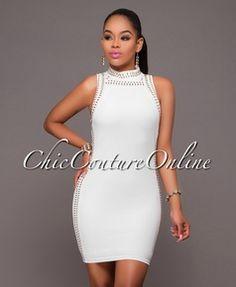 Lyric Off-White Rhinestones Embellished Dress
