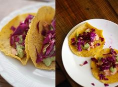 Salmon tacos with tomatillo guacamole and red cabbage