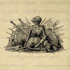 Medieval Knight Weapons and Armor Image Digital Printable