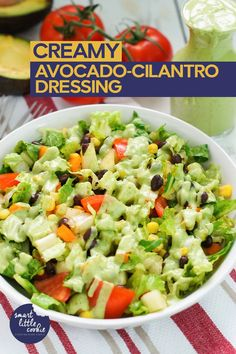 The best healthy creamy avocado cilantro dressing recipe Made with only six ingredients in just 2 minutes Perfect for salads burrito bowls nachos fish tacos and dipping Avocado Cilantro Dressing, Avocado Salad, Healthy Breakfast Recipes, Healthy Salads, Healthy Recipes, Healthy Eating, Cooking Recipes, Burritos, Feta