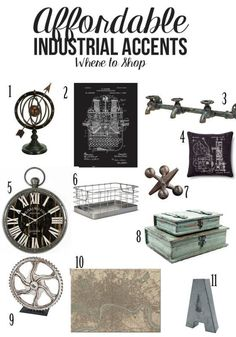 Affordable Industrial Accents and where to shop - includes an industrial bedroom design to start decorating today! Affordable Industrial Accents and where to shop - includes an industrial bedroom design to start decorating today! Bedroom Vintage, Vintage Industrial Bedroom, Industrial Interior Design, Industrial Interiors, Industrial House, Vintage Home Decor, Industrial Decorating, Industrial Farmhouse, Industrial Lighting