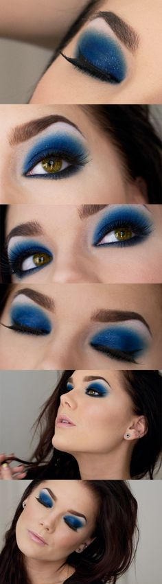 Was it a Dream -Linda Hallberg (electric blue). is such a pretty blue! Reminds me of galaxy makeup Pretty Makeup, Love Makeup, Makeup Inspo, Makeup Art, Makeup Looks, Awesome Makeup, Makeup Ideas, Beauty Make-up, Beauty Hacks