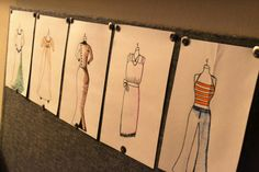 #DIY #VintageDecor idea to add to your creative work space - sketches of vintage outfits through the ages