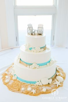 Beach wedding cake - For all your cake decorating supplies, please visit craftcompany.co.uk