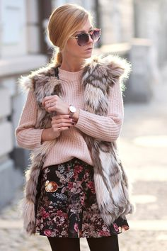 Winter flowers/ Faux fur waistcoat - Choies http://www.choies.com/product/fur-vintage-style-long-waistcoat , Sunglasses - Choies http://www.choies.com/product/vintage-sunglasses-with-metal-arrow-in-floral