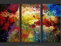 """Rose Garden"" - Original Flower Paintings by Lena Karpinsky, http://www.artbylena.com/original-painting/20547/rose-garden.html"