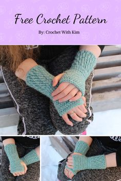 Crochet Craft Fair, Easy Crochet, Free Crochet, Crochet Ideas, Crochet Projects, Crochet Fingerless Gloves Free Pattern, Fingerless Mittens, Crochet Wrist Warmers, Hand Warmers