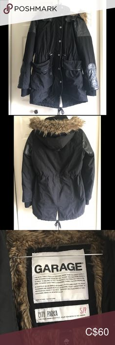 Black City Parka [Size S] Gently used black city parka by Garage.   Quite heavy and warm. Big pockets and leather accents. The hood is not removable, but the first around the hood is removable. Garage Jackets & Coats